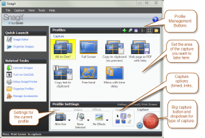 Snagit basic UI with annotations